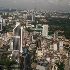 A birds-eye view from the KL Tower of Kuala Lumpur