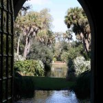 A rare view looking out of the tower door into Bok Tower Gardens