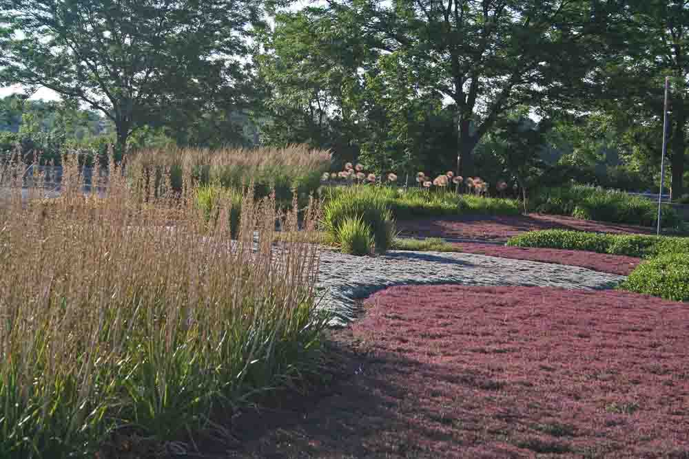Graceful drifts of perennials greet visitors at the entrance garden to the Niagara Parks Botanical Garden and School of Horticulture in Niagara Falls, Ontario Canada.